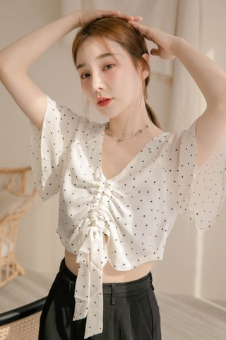 BUT LITTLE BUN KOREA RUCHED DOTTY TOP IN WHITE