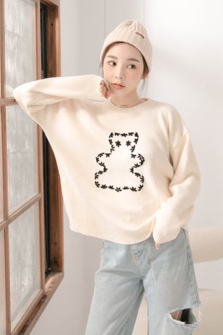 (BACKORDER) HONEY BAKED KR WOOL BEAR SWEATER IN CREAM