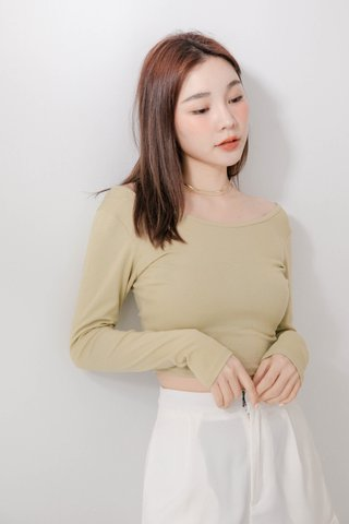 (BACKORDER) HANNAH KR BASIC TOP IN MATCHA