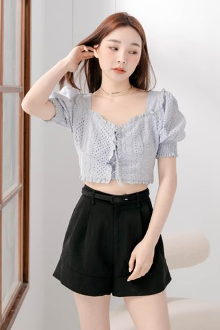 (BACKORDER S/M) HONEY BAKED KR EYELET TOP IN BABY BLUE
