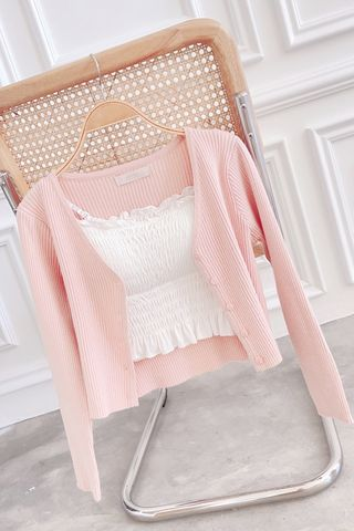 (BACKORDER) LITTLE DAY KOREA KNIT CARDIGAN IN HONEY PINK