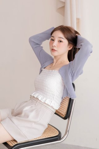 RAINIE KR LETTUCE EDGE SMOCKED TOP IN WHITE