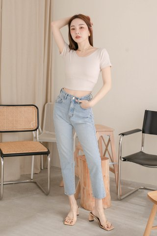(BACKORDER) LATTE KR BASIC CROP TEE IN CREAM