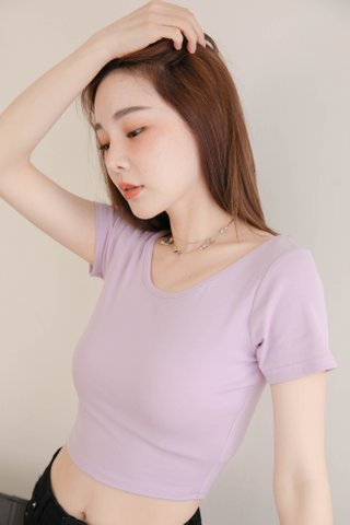 (BACKORDER) LATTE KR BASIC CROP TEE IN YAM