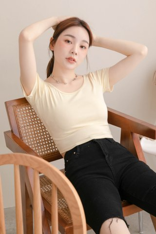 (BACKORDER) LATTE KR BASIC CROP TEE IN BUTTER
