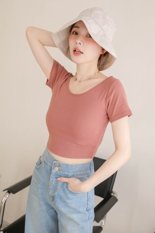 (BACKORDER) LATTE KR BASIC CROP TEE IN DUSTY ROSE