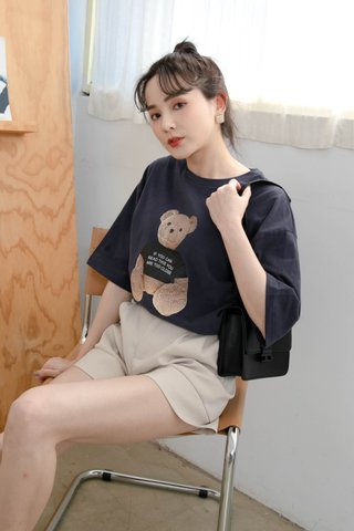 (BACKORDER) BUTTER TOAST KR BEAR TEE IN NAVY BLUE