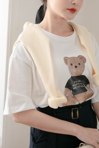 (BACKORDER) BUTTER TOAST KR BEAR TEE IN WHITE