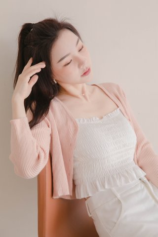 LITTLE DAY KOREA KNIT CARDIGAN IN HONEY PINK